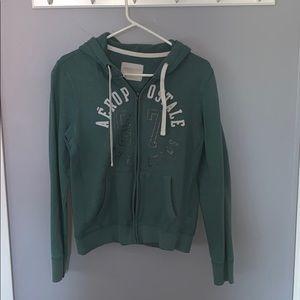 Green Aeropostale zip up hoodie.